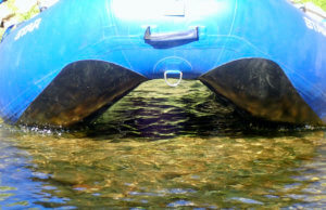 This photo shows the raised floor and tube design of the NRS STAR Wonder Bug Raft.