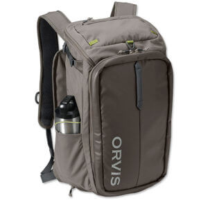 This best fishing backpack photo shows the Orvis Bug Out Backpack.