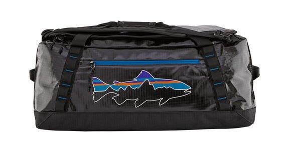 This photo shows the Patagonia Black Hole Duffel w/Fitz Roy Trout.