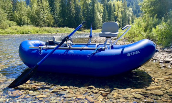 This photo shows the NRS STAR Wonder Bug Raft on a river during testing and review.