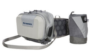 This photo shows the Simms Flyweight Hip Hybrid System fishing waist belt and pack.