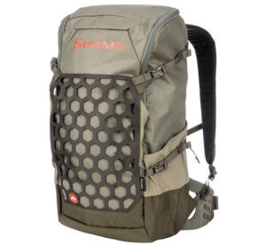 This best fishing backpack photo shoes the Simms Flyweight Backpack.