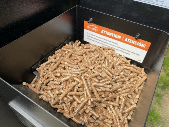 This photo shows Traeger pellets in the Traeger Pro 575 pellet grill.