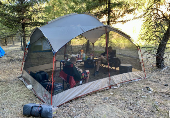 This review photo shows the Bass Pro Shops Eclipse Refuge Screen House during the testing and review process on a camping trip.