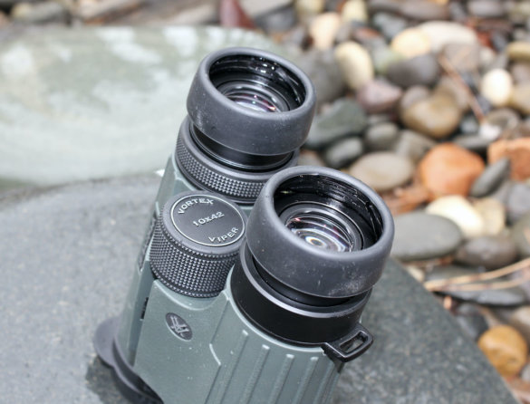 This review photo shows a closeup of the eye cups on the Vortex Viper HD 10x42 Binoculars.