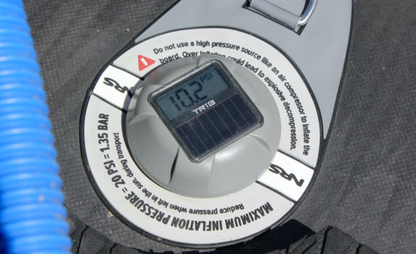 This photo shows the TRiB airCap installed on an inflatable SUP.