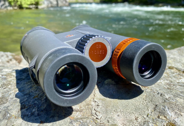This photo shows a closeup of the Maven C.3 10x50 binoculars.