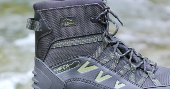 This photo shows a closeup of the L.L.Bean Apex men's wading boots.