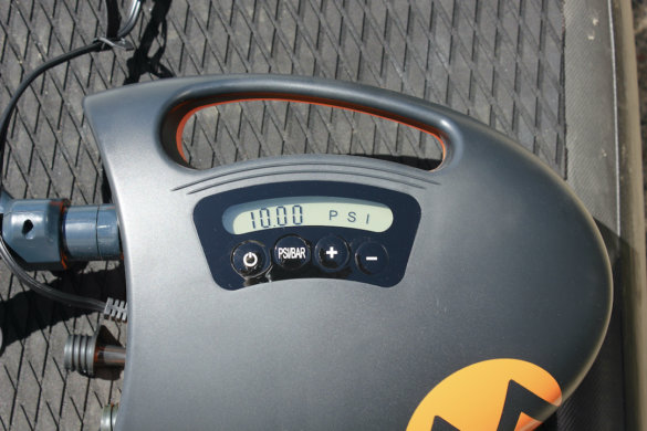 This photo shows a close-up of the Outdoor Master The Shark II Electric Air Pump controls.