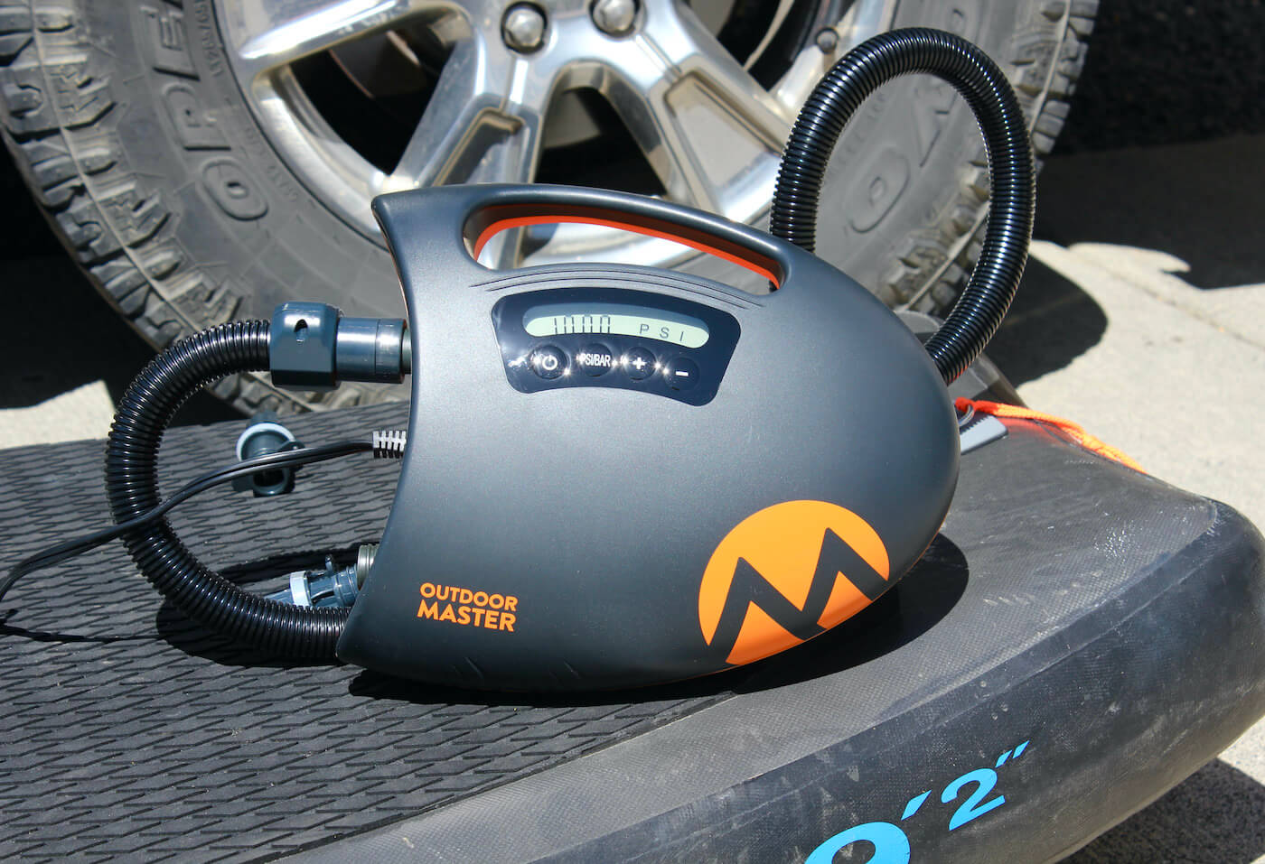 This review photo shows the Outdoor Master The Shark II SUP Air Pump.