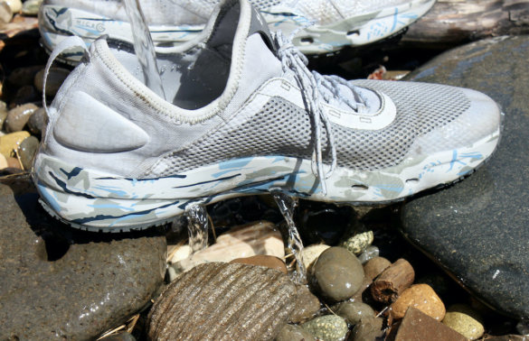 This photo shoes water draining out of the men's UA Kilchis Fishing Shoes tested by the author.