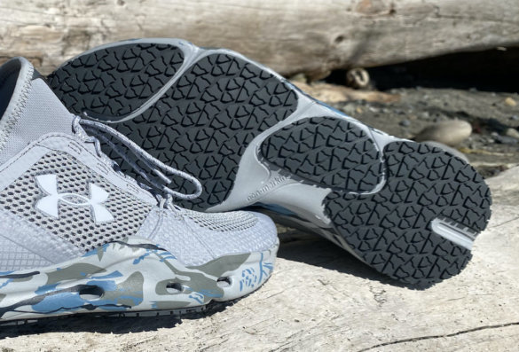 This review photo shows the traction sole on the Under Armour Micro G Kilchis Fishing Shoe for men.
