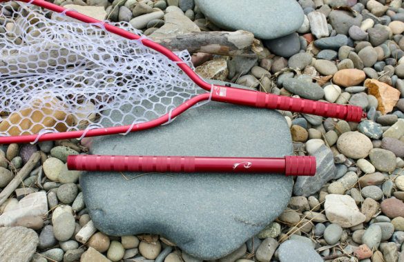 This photo shows the Extend Net Handle next to the Rising Brookie Net.