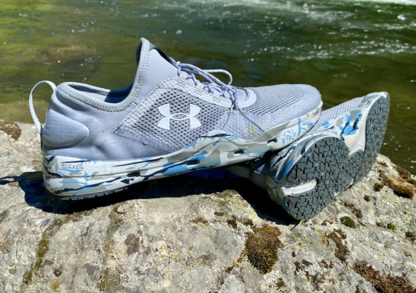 This review photo shows the Under Armour UA Micro G Kilchis Fishing Shoes that were worn and tested by the author.