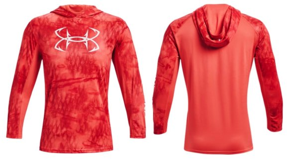 This produce photo shows the Under Armour UA Iso-Chill Shorebreak Hoodie fishing and sun shirt.