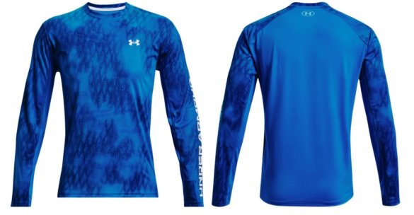 This produce photo shows the Under Armour UA Iso-Chill Shorebreak Long Sleeve fishing and sun shirt.
