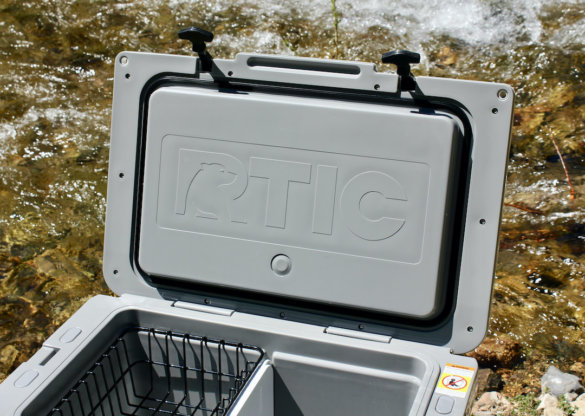 This review photo shows the interior of the RTIC Ultra-Light Cooler lid, with the gasket showing.