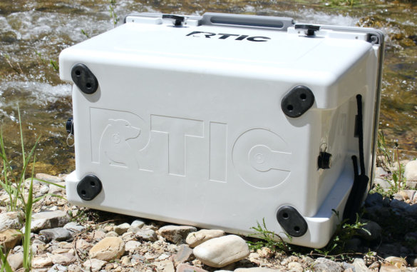 This photo shows the bottom of the RTIC Ultra-Light Cooler.