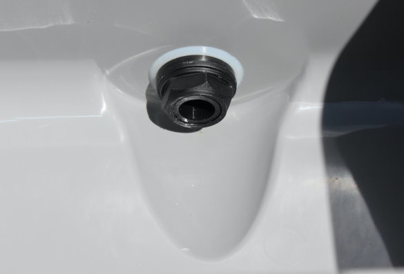 This photo shows the smaller drain plug in the RTIC Ultra-Light Cooler.
