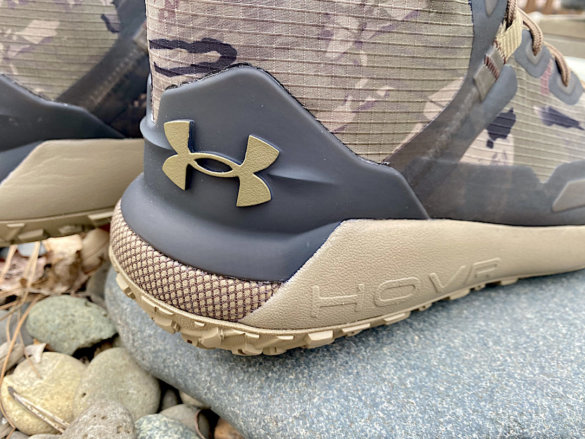This review photo shows the heel and sole of the Under Armour UA HOVR Dawn WP Boots.
