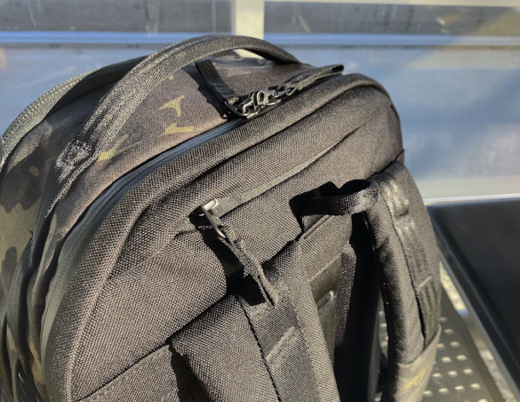 This photo shows the top of the Able Carry Max Backpack.