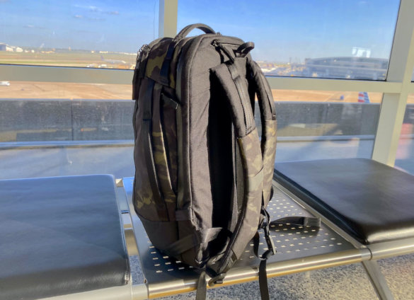 This photo shows the backpack straps on the Able Carry Max Backpack.