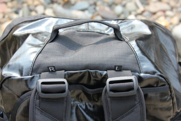 This photo shows the top of the Patagonia Black Hole Duffel Bag.