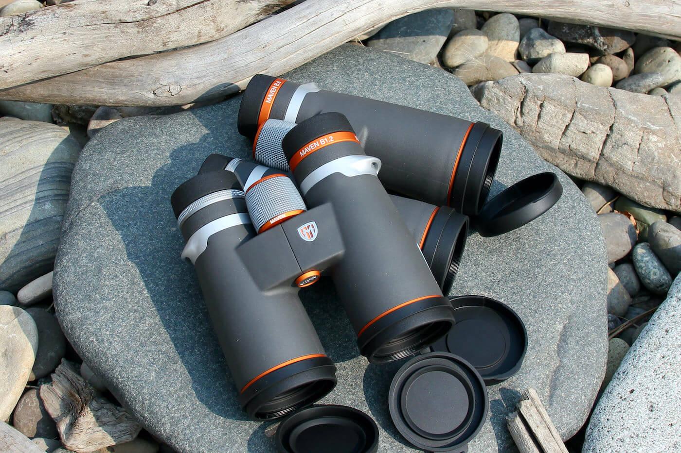 This photo shows the new Maven B1.2 binoculars next to the new Maven B.6 Binoculars.