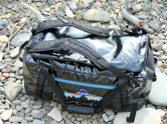 This photo shows the Black Hole Duffel Bag with the backpack straps deployed for use.