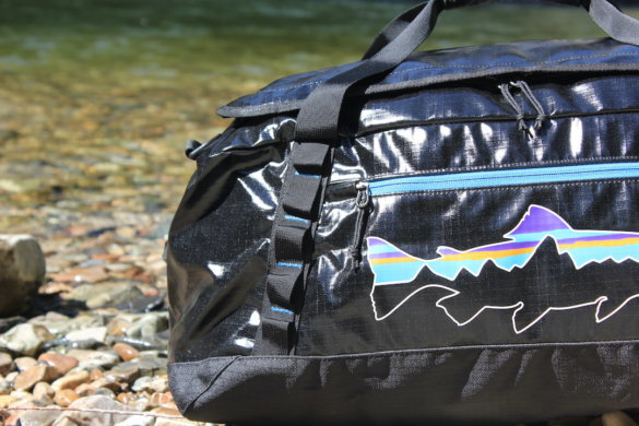 This photo shows a closeup of the daisy chain links on the outside of the Patagonia Black Hole Duffel Bag.