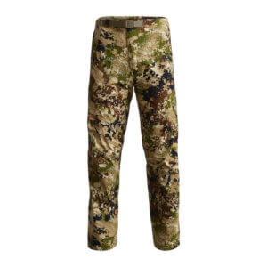 This photo shows the Sitka Dew Point Pant for hunting in the rain.