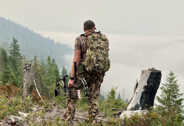 This photo shows the author elk hunting while wearing Sitka Traverse hunting pants during the testing and review process.