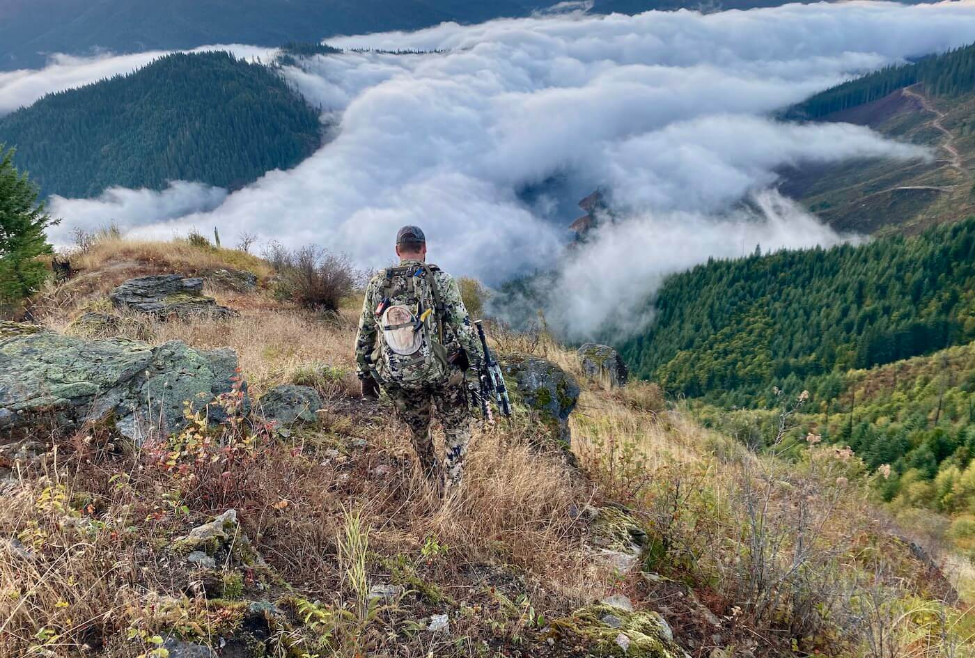This photo shows the author wearing the Sitka Mountain Pants and related Sitka hunting clothing while elk hunting in Idaho during the review and testing process.