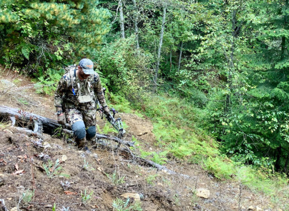 This photo shows the author wearing the Sitka Timberline Pants during the testing and review process during an Idaho archery elk hunt.