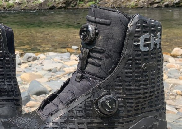 This photo shows a close up of the BOA lacing system on the Under Armour UA CH1 GORE-TEX Hunting Boots.