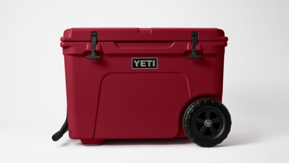 This photo shows the YETI Tundra Haul in the Harvest Red color option.