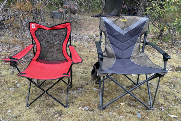 This photo shows a standard-sized camping chair next to the Cabela's Big Outdoorsman XL Fold-up Chair.