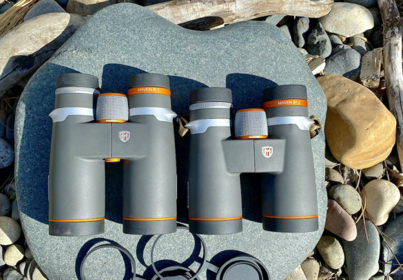 This review photo shows the previous generation Maven B.1 binoculars next to the new 'B1.2' version.