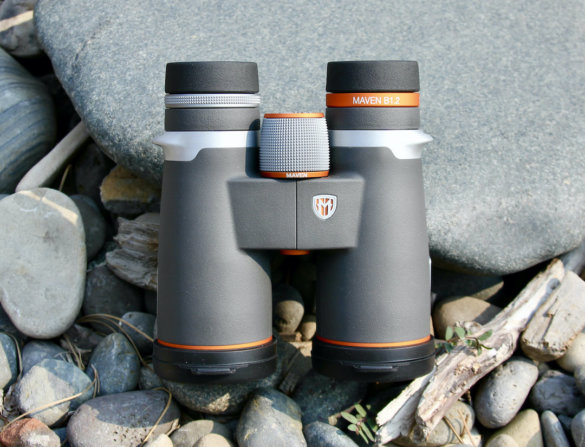 This review photo shows the new Maven B1.2 10x42 binoculars during the testing process.