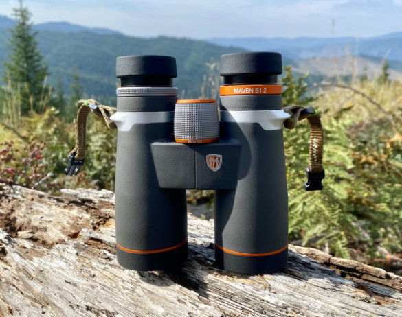 This photo shows the adjustable eye cups extended on the Maven B1.2 binoculars.