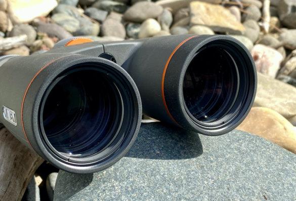 This photo shows the lenses on the Maven B1.2 10x42 binoculars.
