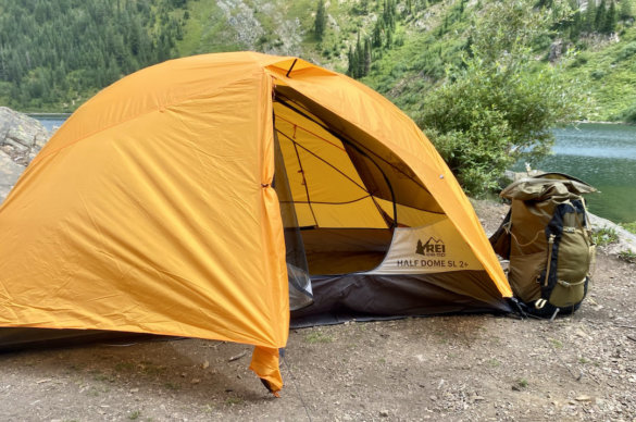 This Half Dome SL 2+ Tent review photo shows the rainfly vent and interior door.