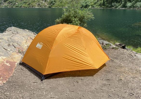 This photo shows the REI Co-op Half Dome SL 2+ Tent vestibules setup.