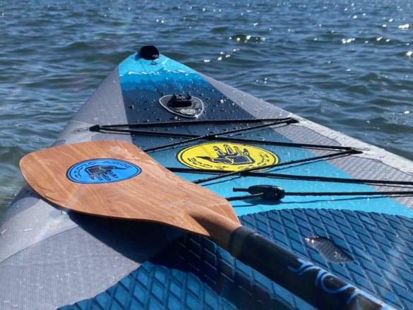 This photo shows the front portion of the Body Glove Performer 11 paddle board.