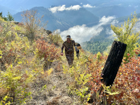 This image shows the author wearing the UA Ridge Reaper Raider HD hunting pants while archery elk hunting during the testing and review process.